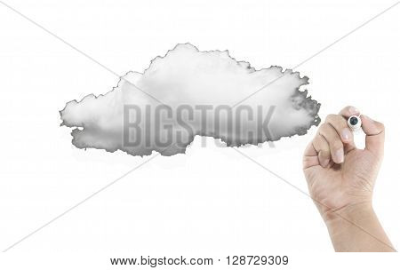 blank cloud with hand writing on white background