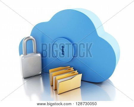 3d renderer image. Cloud with file storage and padlock. Cloud storage concept. Isolated white background.