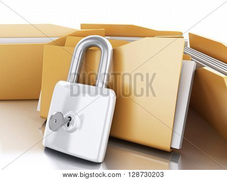 3d renderer image. Folders with padlock and key. Security concept. Isolated white background.