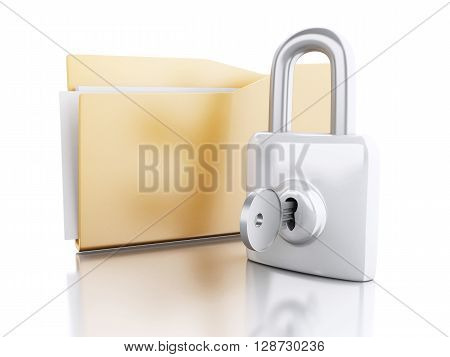 3d renderer image. Folder with padlock and key. Security concept. Isolated white background.