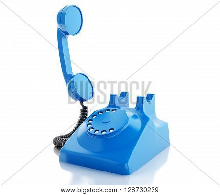 3d renderer image. Old blue phone. Communication concept. Isolated white background.