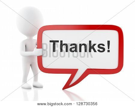 3d renderer image. White people with speech bubble that says thanks. Business concept. Isolated white background.