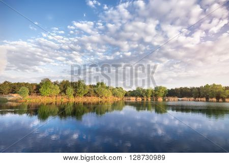 Morning on the lake / bright summer picture summer ukraine