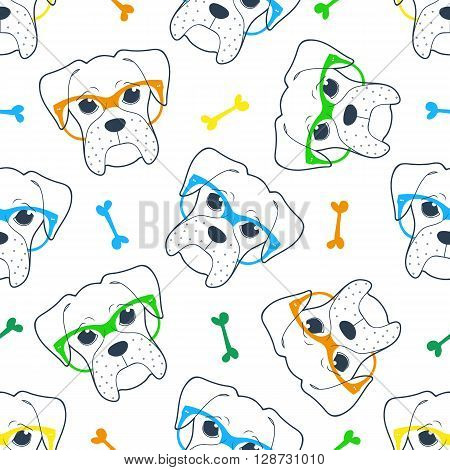 Seamless doodle hipster pattern with a boxer in glasses. Stylish hipster pattern. Pattern with the French Boxer. Background with boxer. French Boxer in colored glasses. Character dog.