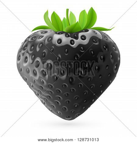 Realistic illustration of black strawberry on white background