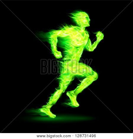Green fiery running man with motion effect on black background