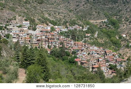 Traditional Mountain village of Askas at Troodos mountains in Cyprus. The village is part of Pitsilia agricultural region which are famous for producing wines