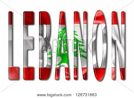 Lebanon word with a bevelled flag texture on an isolated white background with a clipping path with and without shadows