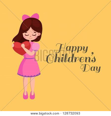 Vector illustration kids playing. Greeting card happy childrens day. Happy kids background