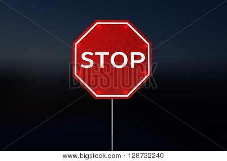 Stop Road Sign at Night 3D Rendering