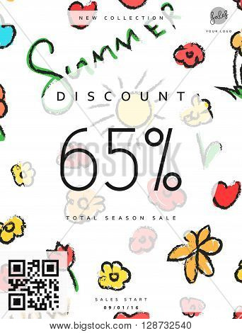 Discount 65. Discounts price tag. Summer discount. Black Friday. Clearance Sale. Discount coupon. Discount summer. Sale discount