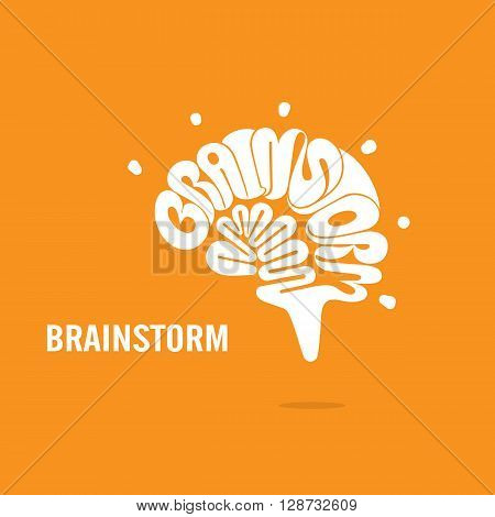 Creative Brain sign and Brainstorm concept.Brain logo vector design.Think Idea concept.Brainstorm Power Thinking Brain icon.Business idea and Education concept. Vector illustration