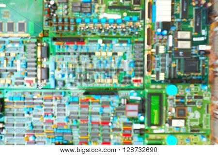 Blurred of integrated circuit/circuit board. Technology background.