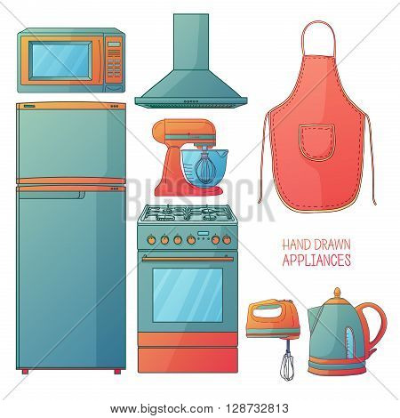 Set of kitchen tools. Kitchen household furniture in a cartoon style. Silhouette of kitchen tools and accessories. Appliances for kitchen interior. Vector illustration