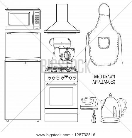 Set of kitchen tools. Kitchen household furniture in a linear style. Silhouette of kitchen tools and accessories. Appliances for kitchen interior. Vector illustration