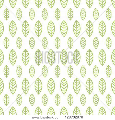 Simple seamless organic wallpaper with a pattern of green leaves in a linear style. Good for organic wallpaper, packaging, invitations, organic background, scrap-booking. Vector