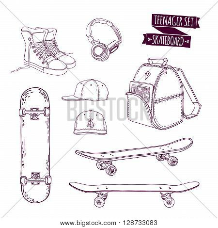 Set teenager things. Street style. Things teenager. All sports skateboarding. Monochrome skateboard set. Hipster style. Cartoon style. Vector illustration