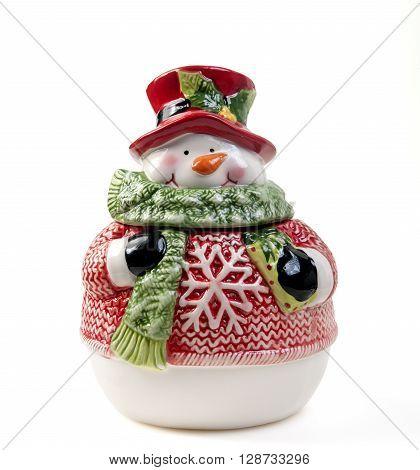 porcelain jar snowman shaped isolated on white background
