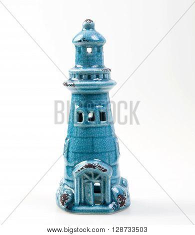 beacon blue porcelain trinket isolated on white background