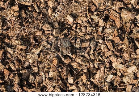 The pile of coconut husk for agriculture as background