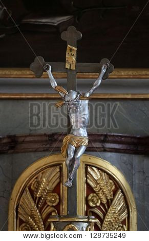 PRIMISWEILER, GERMANY - OCTOBER 20: Crucifixion, church of St. Clement in Primisweiler, Germany on October 20, 2014.