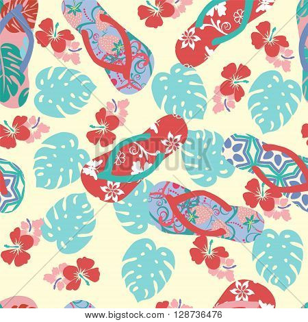 Abstract vector summer background with flower hibiscus and flip flops. Seamless tropical pattern