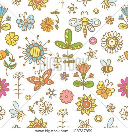 Cartoon summer floral seamless pattern. Glade with flowers and insects.  Doodle style. Vector image. Butterflies, mosquitoes, dragonflies and bees.
