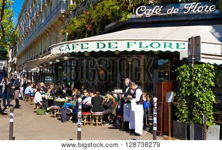 Paris France-May 05 2016: The famous cafe de Flore located at the corner of boulevard Saint Germain and rue Saint Benoit. It was once home to intelectual stars from Hemingway to Pablo Picasso.