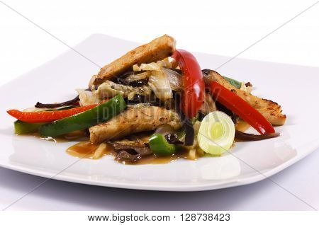 Image of light meal with vegetables and meat