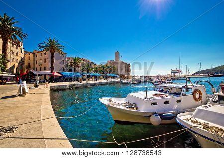 Mediterranean town of Komiza on Vis island Dalmatia Croatia