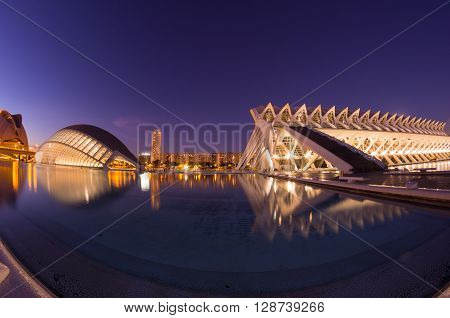 VALENCIA SPAIN - OCTOBER 07 2014: Prince Philip Science Museum and L'Hemisferic in Valencia Spain