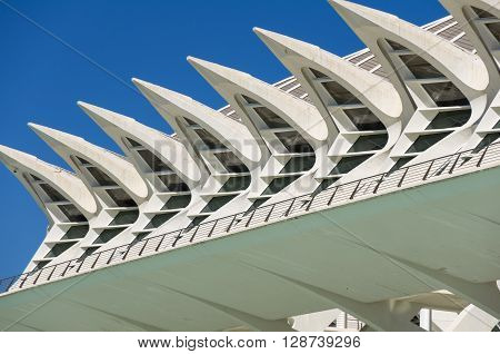 VALENCIA, SPAIN - OCTOBER 08, 2014: Detail of Prince Philip Science Museum in Valencia Spain