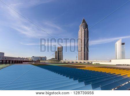 Trade Fair Tower Messeturm And The Marriott Hotel Next To Frankfurt Trade Fair Grounds