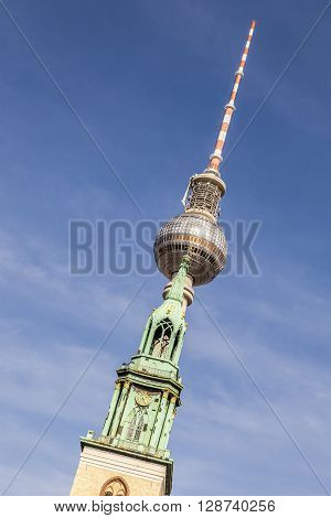 Church And Tv-tower At Berlin, Alexanderplatz