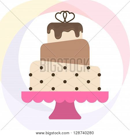 Vector illustration with wedding cake. For wedding invitations or announcements. Icon wedding cake. Sweet wedding cake with chocolate icing
