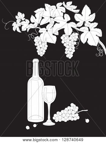 Hand drawn outlines branch with bunch of grapes glass and bottle of wine. Black and white elements for coloring. Wine set isolated on dark background.