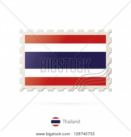 Postage Stamp With The Image Of Thailand Flag.