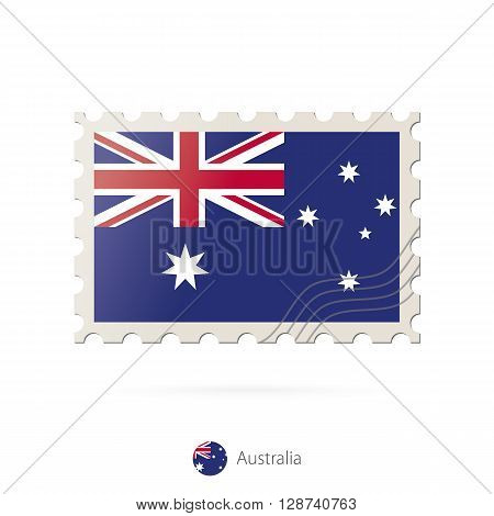 Postage Stamp With The Image Of Australia Flag.