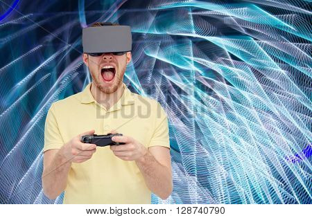 3d technology, virtual reality, entertainment and people concept - man with virtual reality headset or 3d glasses playing with game controller gamepad and screaming over spiral neon lights background