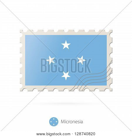 Postage Stamp With The Image Of Micronesia Flag.