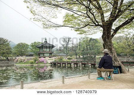 Seoul, South Korea - April 22, 2016: April 22, 2016 Hyangwonjeong Hexagonal Pavilion Of Gyeongbokgun