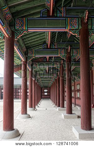 The porch between the pillars at Gyeonbokgung Palace Seoul South Korea