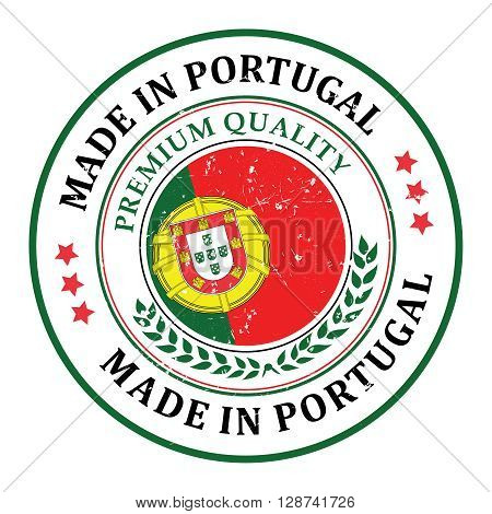Made in Portugal grunge printable label, with Portuguese flag colors and map. Premium Quality. CMYK colors used.