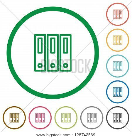 Set of binders color round outlined flat icons on white background