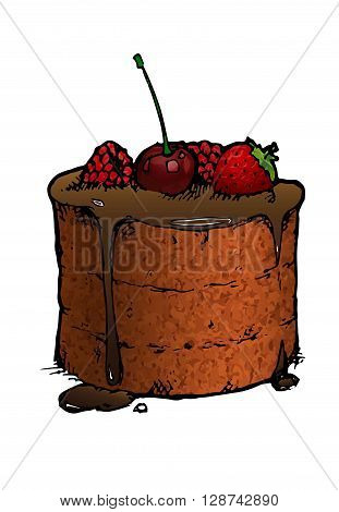 Raspberry Cake isolated. hand drawn vector stock illustration