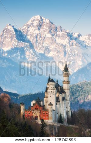 Famous Neuschwanstein castle on mountain background historical building Germany