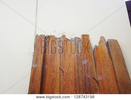 Decay of old wood door from termite which eat for a long time.