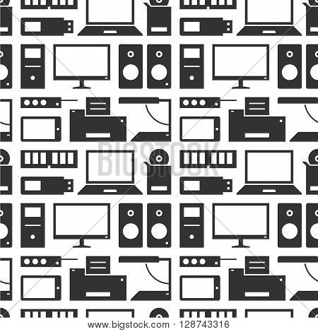 Computers, devices and office equipment. Pattern illustration.