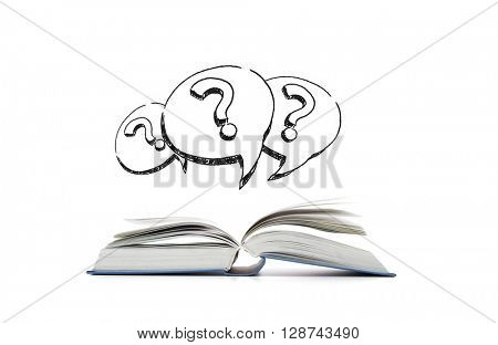 education, information and literature concept - open book and question marks in text bubbles