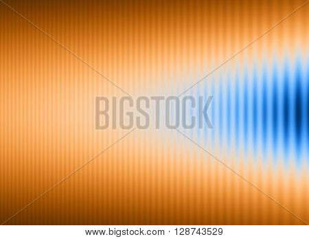 Abstract background with orange and brown stripes with a wedge of blue encroaching on them